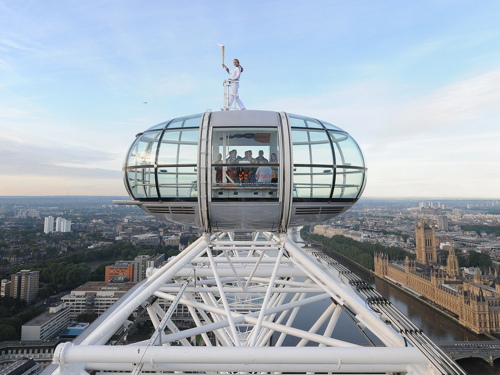 Olympic flame at top of the London Eye