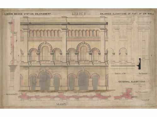 See historic drawings of Waterloo and London Bridge Stations