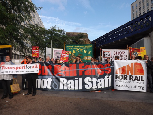 Rail campaigners stage train fares protest at Waterloo