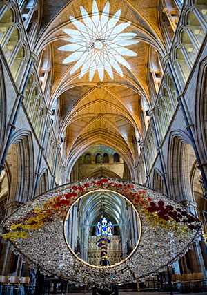 Floral designers create living art gallery at Southwark Cathedral