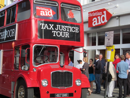 Christian Aid brings Tax Justice Bus to Waterloo