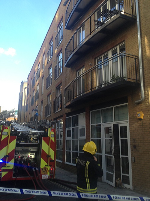 Fire on roof of Magdalen Street block