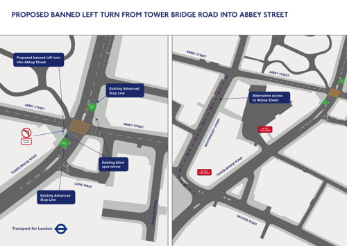Abbey Street: TfL proposes to ban left turns at site of fatal collision