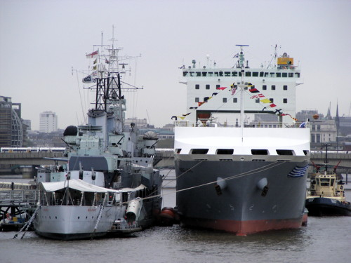 MS Adeline alongside HMS Belfast