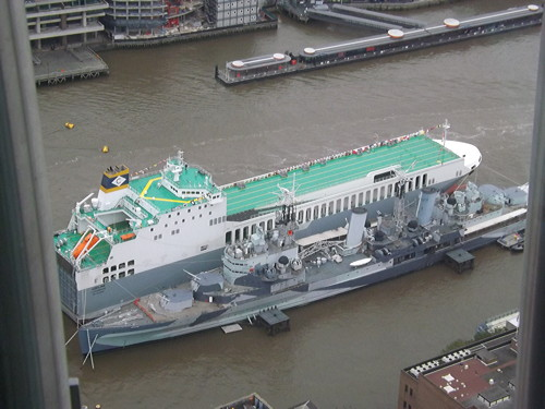Freight ship MS Adeline christened in the Pool of London