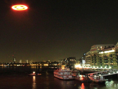 Microsoft 'flying saucer' at Tower Bridge for Halo 4 launch
