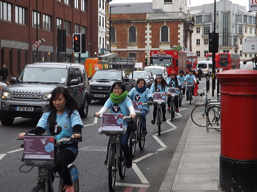 International students on 'Boris bike' ride to highlight youth homelessness