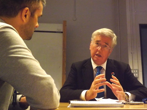 Ex-Dragon Doug Richard and business minister Michael Fallon visit Lewisham College at Waterloo