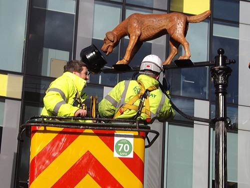 Dog and Pot sculpture installed in Blackfriars Road