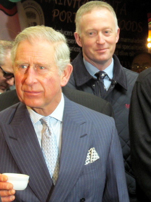 Prince Charles samples olive oil sold by Giuseppe