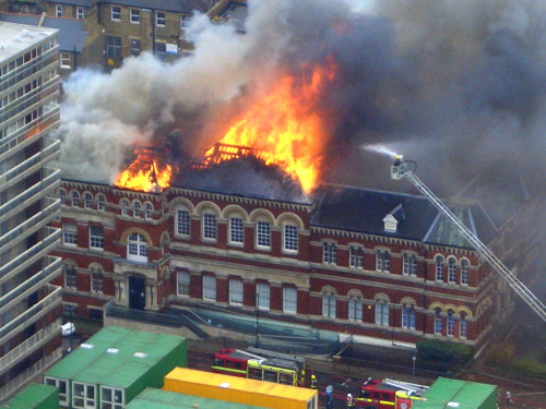 Massive fire at Walworth Town Hall; fears for Cuming Museum collection