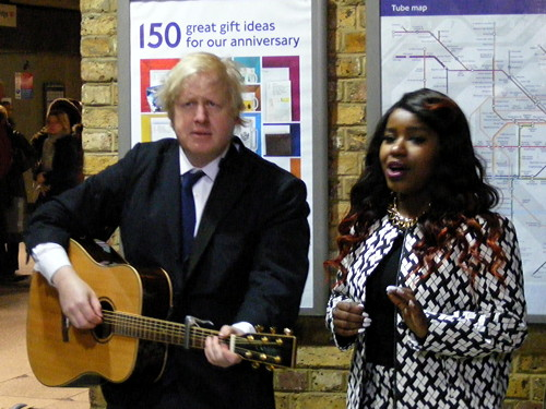 Boris busks at London Bridge Station