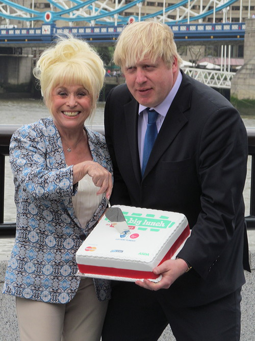 Barbara Windsor and Boris Johnson promote the Big Lunch