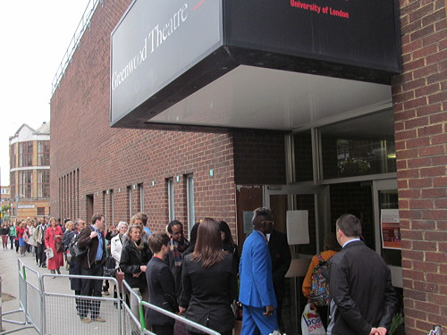 Desmond Tutu draws a crowd to Greenwood Theatre at London Bridge