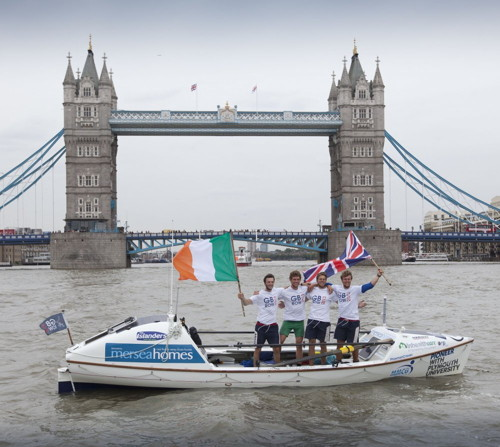 Record-breaking rowers reach Tower Bridge and collect £100,000