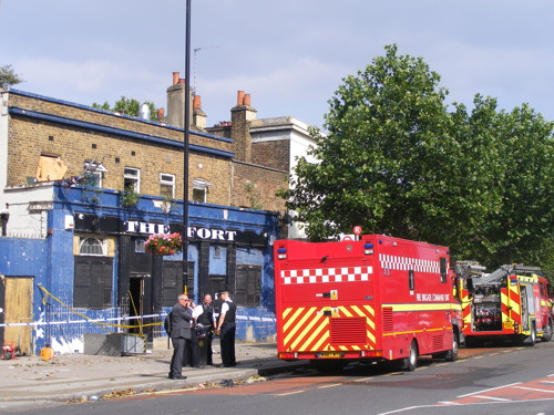 Fire at The Fort in Grange Road