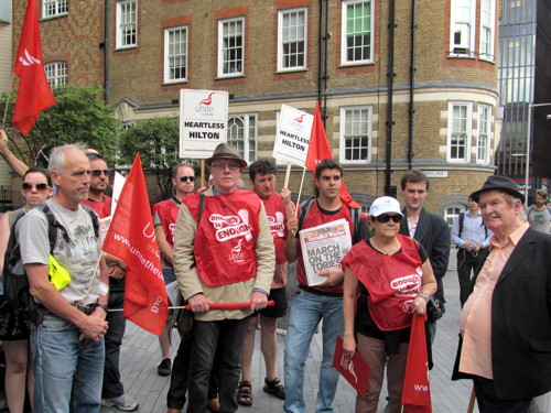Union holds 'living wage' demo outside Tower Bridge Hilton hotel