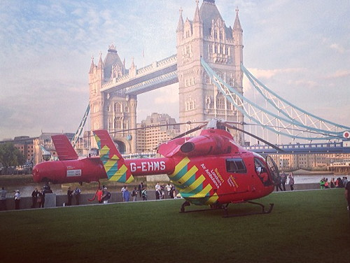 Air ambulance in Potters Fields Park
