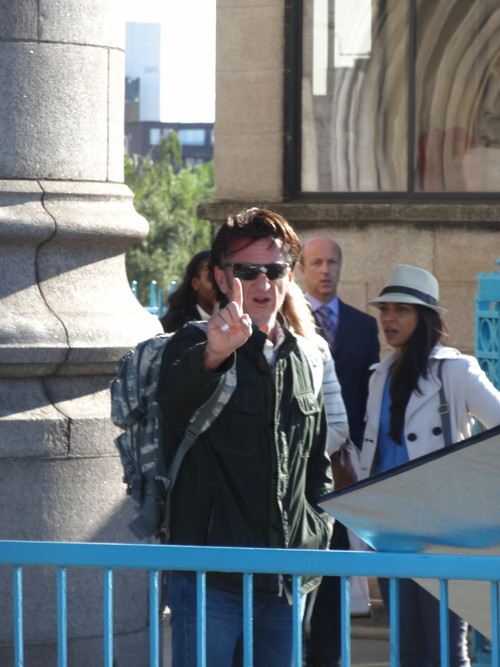 Sean Penn filming 'The Gunman' movie at Tower Bridge