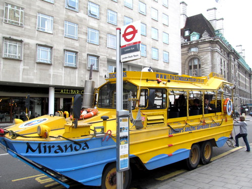 Drama on the Thames as Duck Tours amphibious vehicle catches fire