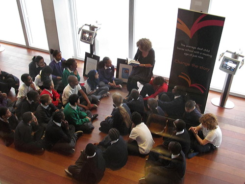 Francesca Simon joins Snowsfields school pupils at the Shard