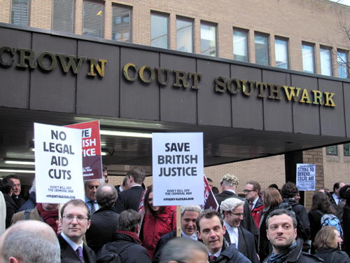 Barristers stage protest outside Southwark Crown Court