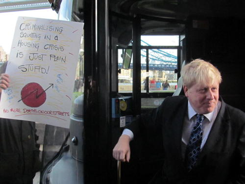 Protesters disrupt Boris's 'Year of the Bus' launch at City Hall