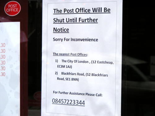 London Bridge Post Office 'closed until further notice'