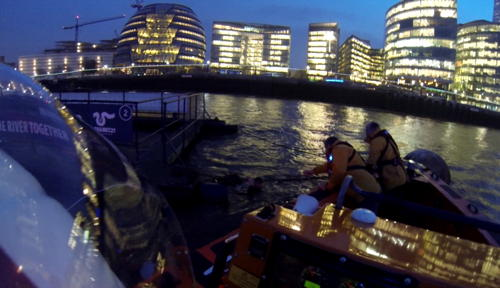 Lifeboat crew rescues man clinging to Thames barge