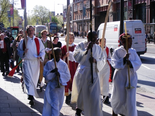 Southwark Cathedral palm procession in Borough Market