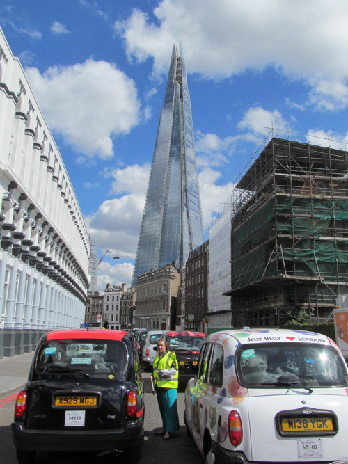 Taxi drivers converge on the Shard for protest