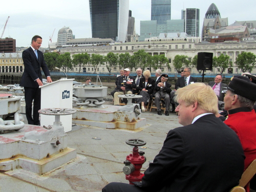 David Cameron at HMS Belfast for D-Day 70th anniversary event