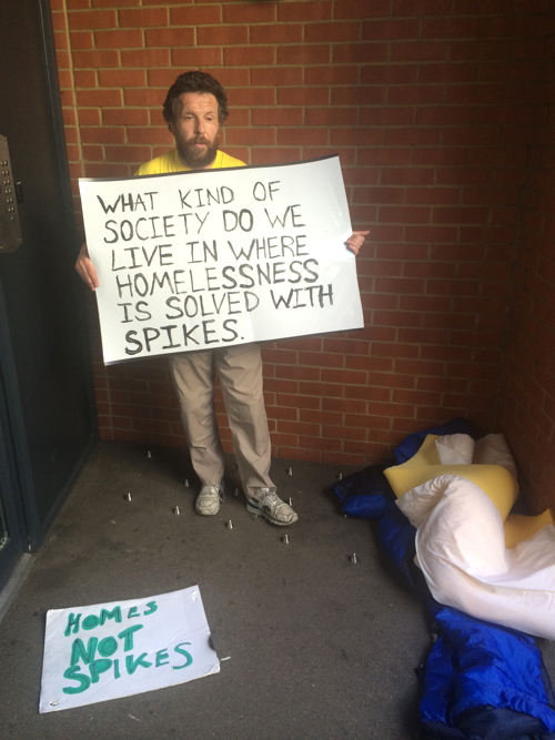 'Homes not Spikes' protest outside Southwark Bridge Road flats