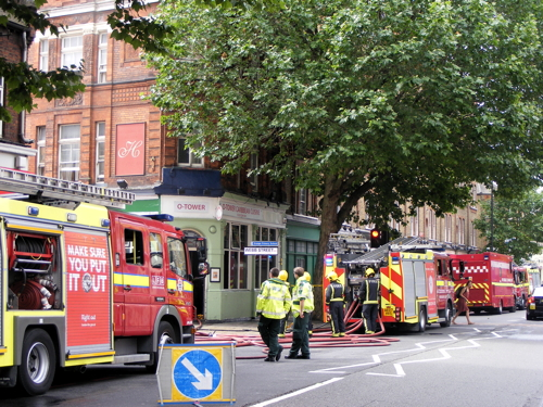 Fire at O-Tower Caribbean restaurant in Tower Bridge Road