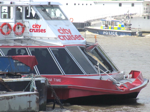 Pleasure boat and container barges in Thames collision