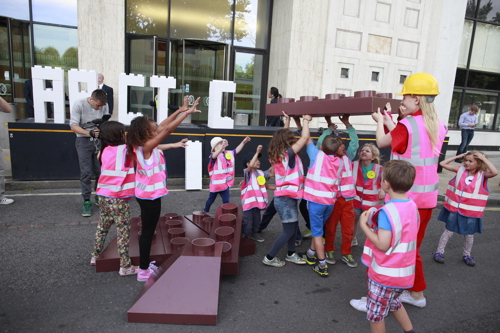 Kids join Greenpeace Lego protest outside South Bank Shell Centre
