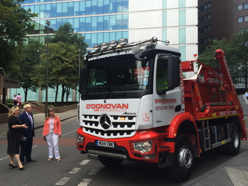 Mayor inspects 'safer lorries' for cyclists and pedestrians