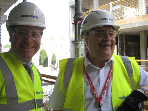 Lord Prescott visits building site for Willow Walk council homes