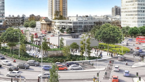 Elephant & Castle: roundabout gone by 2016; tube upgrade 2020
