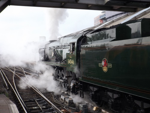 Steam engine at Waterloo Station for special trip