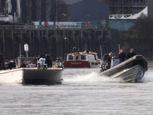 James Bond movie Spectre filming on River Thames
