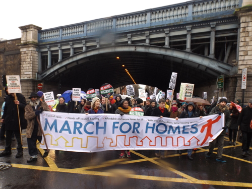 Hundreds join March for Homes from Elephant & Castle to City Hall