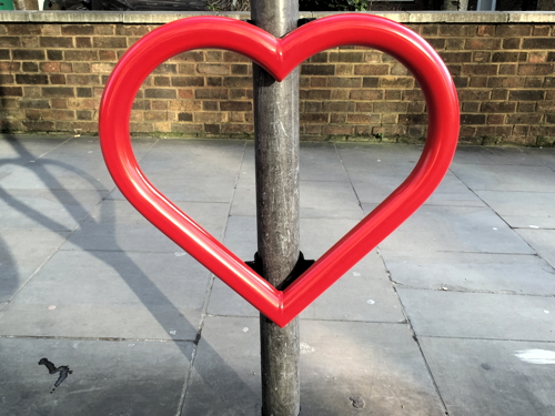 Heart-shaped bike rack appears in Union Street