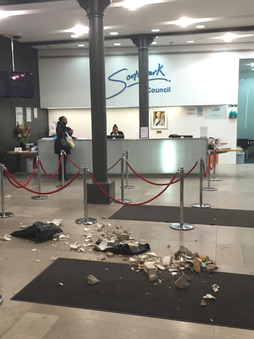 Aylesbury Estate rubble dumped in foyer of Southwark Council HQ