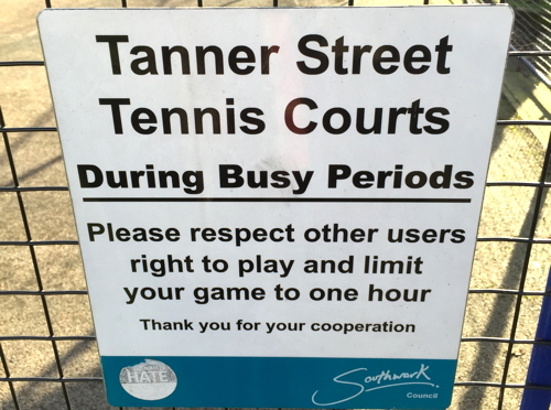 What a racquet! Fees introduced at Tanner Street tennis courts