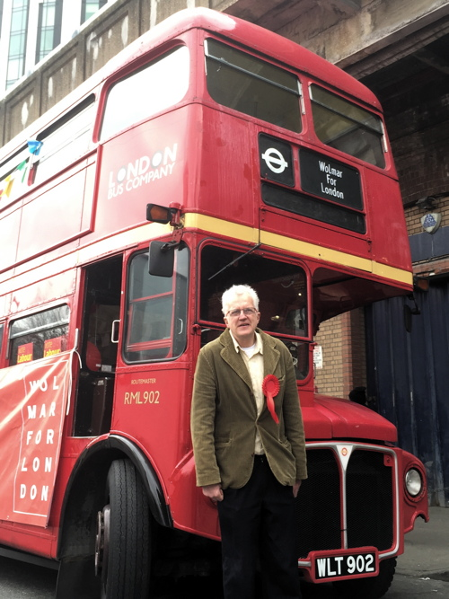 Labour mayoral hopeful Christian Wolmar brings bus to Elephant