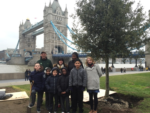 Tower Bridge Primary School pupils plant Potters Fields Park tree