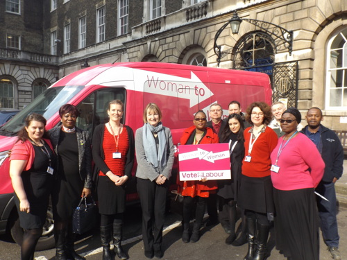 Harriet Harman brings Labour's pink bus to Guy's Hospital