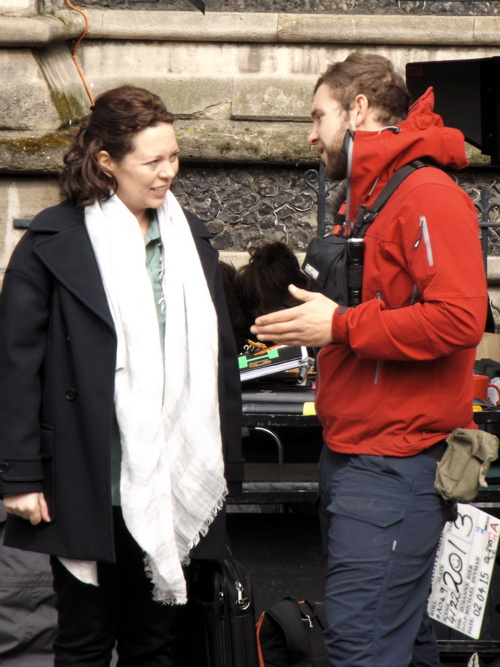 Olivia Colman and Neil Morrissey filming in Southwark
