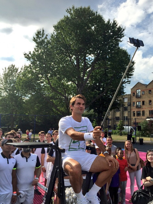 Roger Federer at Tanner Street Park as Nike takes over tennis courts